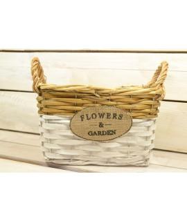 """Prútený košík """"FLOWERS AND GARDEN"""" s rúčkou - bielo-hnedý (22x18x13,5 cm)"""