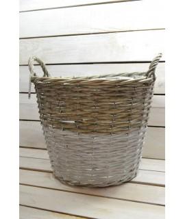 Prútený košík s rúčkou - bielo-sivý (v. 29 cm, p. 35 cm)