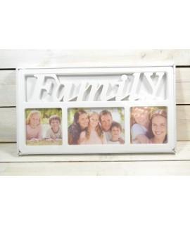 "Fotorám na 3 fotky ""FAMILY"" - biely (39,5x21 cm)"