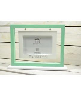"""Fotorám """"FAMILY"""" na (10x15 cm) fotku - zeleno-biely, SI-024"""