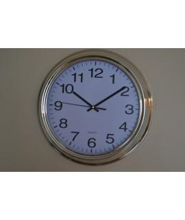 Nástenné hodiny, (priemer 35 cm) - bielo-strieborné, FJ-015