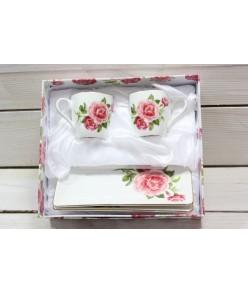 2-dielna sada šálok s podšálkami RUŽE v darčekovej krabici