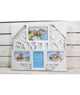 """Fotorám na 4 fotky """"FAMILY"""" - biely (3x 10x15 cm, 18x13 cm)"""