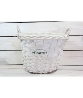 """Prútený košík """"FLOWERS"""" s rúčkou - biely (v. 22 cm, p. 28,5 cm)"""