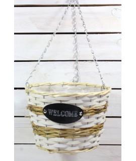 """Prútený košík """"WELCOME"""" s rúčkou - bielo-sivý (v. 20 cm, p. 26 cm)"""