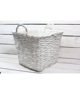 Prútený košík (31x25,5x31 cm) - biely
