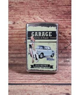Darčekový zapaľovač - garage modré auto BZ3