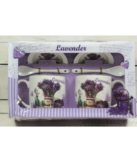 """2 šálky s podšálkami a lyžičkami """"LAVENDER"""" v darčekovej krabici 4."""
