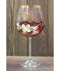 Výročný pohár na 60. narodeniny - NA VÍNO - bordový (650 ml)