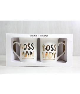 """2 šálky v darčekovej krabici """"BOSS MAN BOSS LADY"""""""
