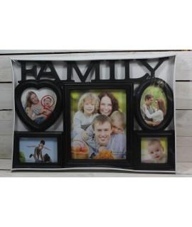 "Fotorám na 5 fotiek ""FAMILY""(1 x 20x25 cm, 2 x 10x15 cm, 2 x 10x10 cm) - čierny"