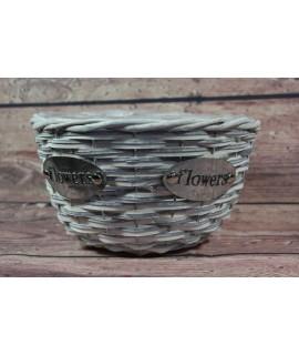 """Prútený košík """"FLOWERS"""" - sivo-biely (v. 13 cm, p. 18,5 cm)"""