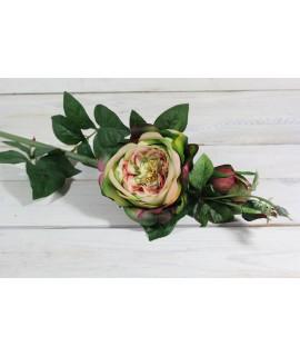 Umelá RUŽA - zeleno-ružová (v. 74 cm)