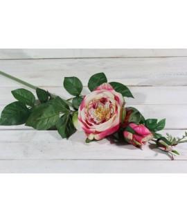 Umelá RUŽA - krémovo-ružová (v. 74 cm)