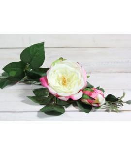 Umelá RUŽA - bielo-ružová (v. 74 cm)