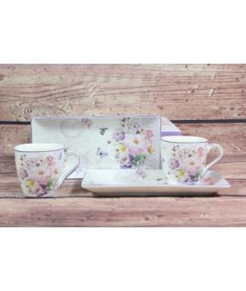 2-dielna sada (ENGLAND COLLECTION) v darčekovej krabici - kvety fialové