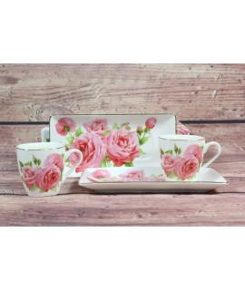 2-dielna sada (ENGLAND COLLECTION) v darčekovej krabici - kvety ružové 2.