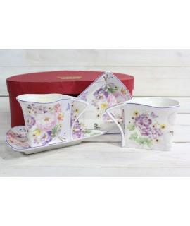 2-dielna sada (ENGLAND COLLECTION) v darčekovej krabici - fialové kvety