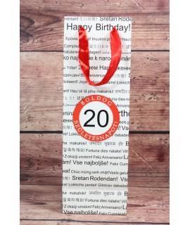 """Ajándék táska üvegre """"20"""" (12x36x9 cm)"""