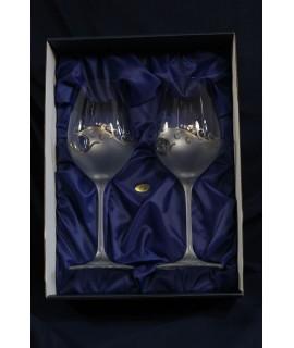 Svadobné poháre na víno s platinovým gravírovaním a s kamienkami (470 ml)
