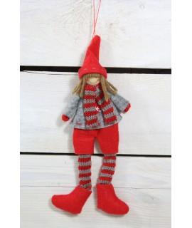 Chlapček červeno-sivé nohavice (v. 22 cm) 1.