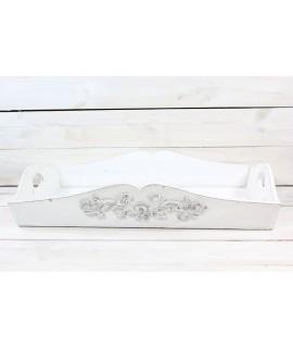 Drevená tácka - biela (53x9x34,5 cm)