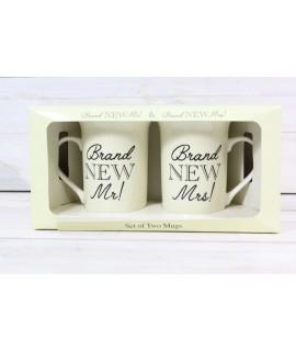 """2 šálky v darčekovej krabici """"BRAND NEW MR! BRAND NEW MRS!"""""""