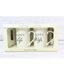 """2 šálky """"HAPPY LIFE, HAPPY WIFE"""""""