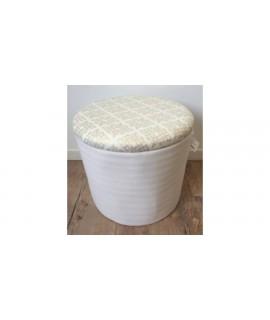 Textilná taburetka s úložným priestorom - bledá - valec 05-400/S (v. 36cm, p. 39 cm)
