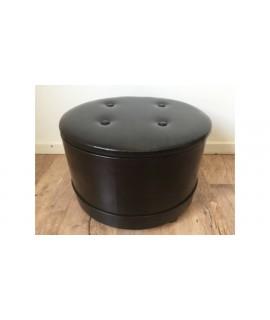 Hnedá koženková taburetka RETRO s úložným priestorom - valec 05-404/S (v. 33 cm, p. 48cm)