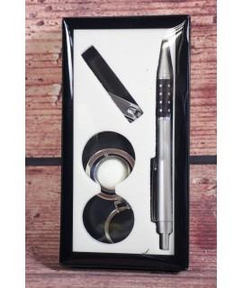 3-dielny set v darčekovom balení (pero, štipec, kľúčenka)