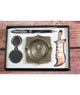 4-dielny set v darčekovej krabici (pero, popoľník, nožík, kľúčenka)