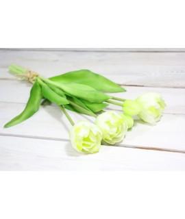 Umelá kytica tulipán - biely (v. 39 cm)