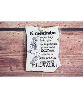 """Drevená tabuľa """"K MENINÁM"""" (9x7 cm) - žena"""