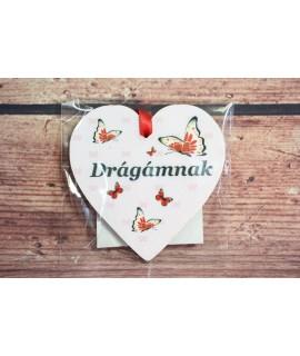 """Fa mágnes- szívecske""""DRÁGÁMNAK"""" - fehér-piros pillangó (9x9 cm)"""