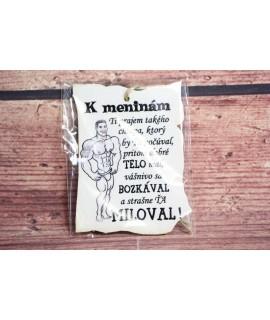 """Drevená tabuľa """"K MENINÁM"""" (9x7 cm) - muž"""