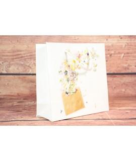 Darčeková taška - biele ruže (15x14,5x6 cm)