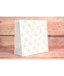 Darčeková taška - strieborné kvety (15x14,5x6 cm)