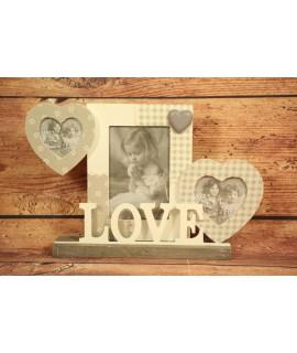 "Fotorám na 3 fotky ""LOVE"" na podstavci (35x22,5 cm)"
