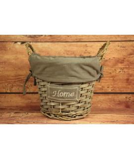"""Prútený košík """"HOME"""" - sivý (p. 23,5 cm, v. 18 cm)"""