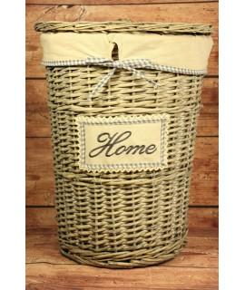"""Prútený kôš na prádlo """"HOME"""" (v. 51 cm, p. 38,5 cm) - sivý"""