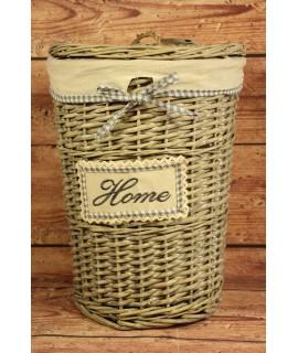 """Prútený kôš na prádlo """"HOME"""" (v. 41 cm, p. 29 cm) - sivý"""
