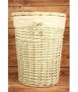 Prútený kôš na prádlo - biele (v. 49 cm, p. 38,5 cm) so srdiečkom