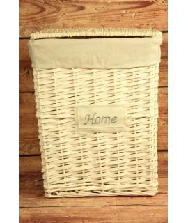 """Prútený kôš na prádlo """"HOME"""" - biely (32x40,5x23 cm)"""