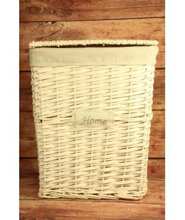 """Prútený kôš na prádlo """"HOME"""" - biely (40,5x49,5x30 cm)"""