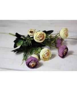 Umelá kytica - fialovo-žltá (v. 27 cm)