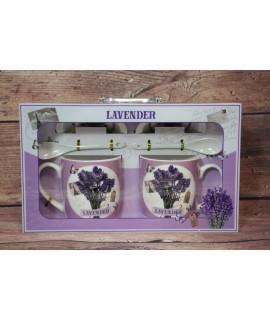 """2 šálky s podšálkami a lyžičkami """"LAVENDER"""" v darčekovej krabici 5."""