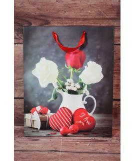 """Darčeková taška """"LOVE YOU"""" Ruže a srdiečka (26x32x12 cm)"""