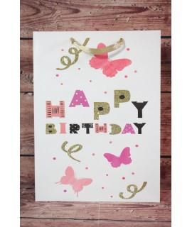 """Darčeková taška """"Happy Birthday"""" - motýle (31x42x12 cm)"""