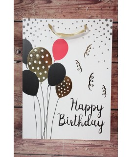 """Darčeková taška """"Happy Birthday"""" - balóny (31x42x12 cm)"""